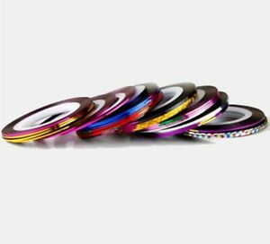 Nail Tape - 10 Different Colour Rolls for Nail Art and Nail Decoration