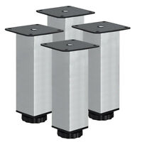 4x Adjustable Stainless Steel Cabinet Cupboard Table Sofa Bed Feet Furniture Leg