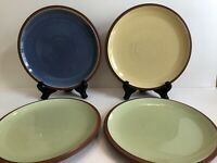 """Lot of 4 DENBY LANGLEY JUICE Blue Yellow Green 9"""" Stoneware Plates EXCELLENT"""