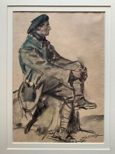 LUCIEN-HECTOR JONAS - WW1 FRENCH SOLDIER - ORIGINAL SIGNED DRAWING