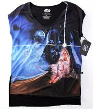 Rock & Republic Star Wars Princess Lea Luke Embellished Shirt Size M Black Blue