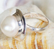 Edel Silberring 51 Süßwasserperle 12,5 mm Kuppel Modern Perle Beige Silber Ring