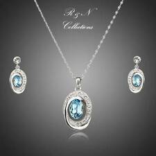 Light Blue Platinum Plated Swiss Cubic Zircon Earrings & Necklace Set (S425-26)