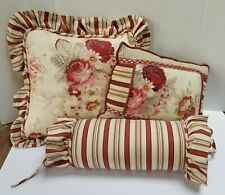 Vintage Waverly Norfork Roses Red Floral Cream 3pc Pillow Lot Square Roll