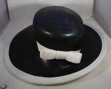 Vtg Ladies Large Hat Black Exterior White Trim & Interior Wide Brim Sz 22