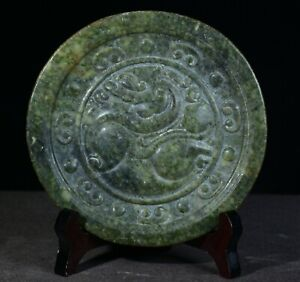 """6"""" Old Chinese Dynasty Green Jade Stone Carved Fly Horse Round Plate Tray"""