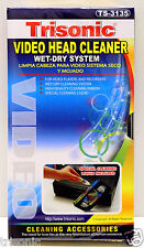 VHS VCR VIDEO HEAD CLEANER WET AND DRY FOR VIDEO PLAYERS AND RECORDERS