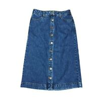 WHITE STUFF BLUE DENIM 100%COTTON ASHURST BUTTON THROUGH SKIRT SIZE UK 12 NEW