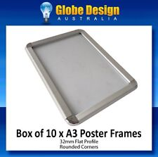 BOX of 10 x A3 Silver SNAP LOCK Poster Frame CLIP LOCK Poster Frame