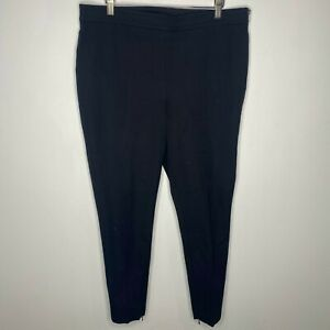 Ann Taylor Size 12 Skinny Pants Black Ankle Zip Side Waist Zip Cotton Casual