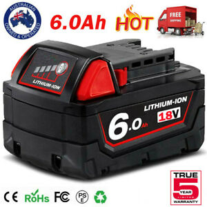 For Milwaukee 18V XC 6.0Ah Li-Ion Battery M18 M18B5 M18B6 48-11-1850 48-11-1860