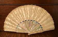 Anti 00004000 que Chantilly Lace on Silk/Mother of Pearl French Evening Fan