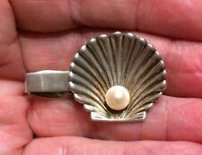 Antique Fine Silver (.950 > Sterling) Tie Clip Scallop Shell w 7mm Genuine Pearl