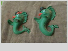 Pair Of Beautiful Vintage Chalkware Fish With Dancing Hats Wall Hangings