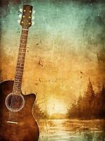 ART PRINT POSTER PAINTING DRAWING FADED GUITAR MUSIC LANDSCAPE LFMP1026