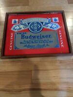 #2 BUDWEISER BEER ANHEUSER BUSCH MIRRORED WOOD FRAME PICTURE BAR SIGN 21x17