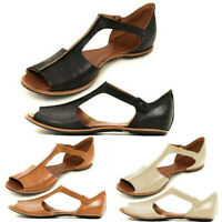 Womens Summer Flats Fish Mouth Beach Shoes Open Toe Ankle Bottom Roman Sandals