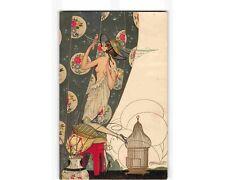ST2138: FEMME A LA PERRUCHE (Brunelleschi signed vintage chromolitho postcard)