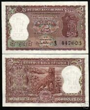INDIA 2 RUPEES P51A 1962 TIGER UNC PCB SIGN CURRENCY MONEY BILL ANIMAL BANK NOTE