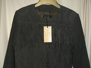STUNNING LADIES. FRENCH CONNECTION GENUINE LEATHER /SANCHO SUEDE FRINGE JACKET
