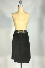 Vintage 1960s-70s brown suede leather CELINE Paris skirt a-line sz 38 horse bit