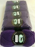 5 Dark Horse Fantasy Yarns Skeins #06 Deep Dark Purple Machine Washable DL 2084