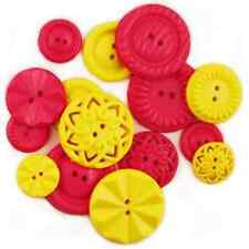 Treasures in Time Fashion Button Medley MAGENTA & YELLOW BUTTONS 15 pieces