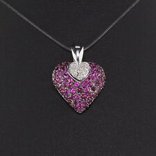 Vintage Estate 14K White Gold Pink Sapphire and Diamond Heart Pendant