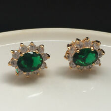 6mmx8mm Oval Zirconia Green Emerald CZ Stud Flower Earrings Yellow Gold Filled