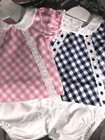 Spanish Cotton Dress Jam Pants Baby Girls Pink Blue Red 0-3 0-18 Mth 100/% Cotton