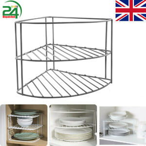 Steel Kitchen Cupboard Worktop Corner Plate Rack Holder Tidy Organiser