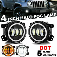 2X 4 Inch LED Fog Light White & Yellow Halo DRL For Jeep Wrangler 07-18 JK Tj LJ