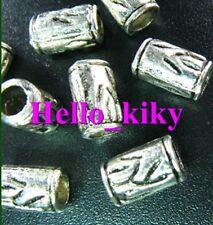 120Pcs  Tibetan silver streaky tube spacer beads A591