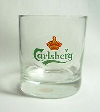 "Carlsberg Beer Short Clear Glass Malaysia Frosted Logo Design 3.25"" Tall"