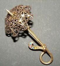 Vintage Brooch - Intricate design brass color umbrella pin with tiny stones