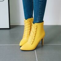 Womens New Fashion Pointy Toe Lace Up Kitten Mid Heels Ankle Boots Plus Size