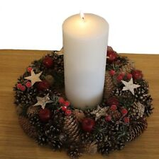 Pine Cones & Stars Wreath  with candle Table Centre Room Decoration