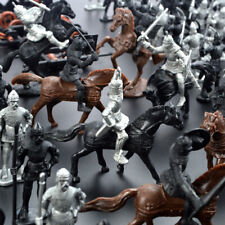 28PCS Medieval Crusaders Knights Warriors Horses Soldiers Figures Model Kids Toy