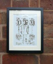 "USA Patent vintage early TATTOO MACHINE Mounted Matted PRINT 10"" x 8"" 1904"
