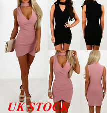 UK Women Bodycon Chock Evening Cocktail Party Mini Dress Ladies V Neck Dresses