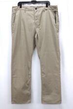 khaki HURLEY Nike Dri-Fit chino dress pants stretch cotton flat front 38 x 32