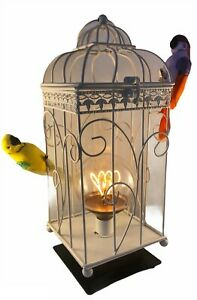 Birdcage Lamp with Budgerigars