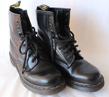 BLACK LEATHER Doc Martens Dr 8 Hole Boots Size 38 UK5 Lace Up