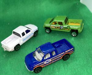 3 Matchbox Pick-Up Truck Lot Farm Dairy Silverado F-150 Ford Patrol & Terradyne