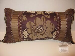 Croscill EVERLY Purple Plum Gold Boudoir Decorative Pillow NWT