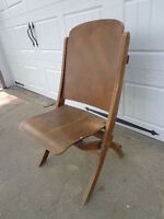 Antique Wood Folding Chair Vintage Country French Theater Seating Rustic Wedding