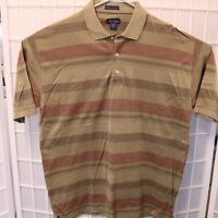 Alan Flusser Polo Shirt Men's Size Large Short Sleeve Brown Striped
