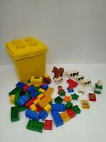 Lego Duplo Farm, 6 Animals, 2 Figs, 3 Feed Blocks,Trough & 48 Blocks - Pre-Owned