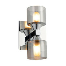 2 Light Wall Light Smoke Shades Modern Bathroom Light Chrome Clearance Litecraft