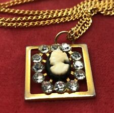 "Vintage Necklace Pendant 24"" Gold Tone Cameo Rhinestone"